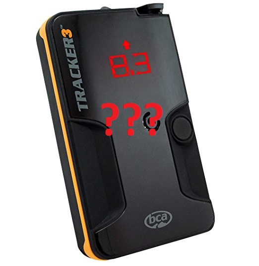 bca tracker 3 avalanche beacon with question marks