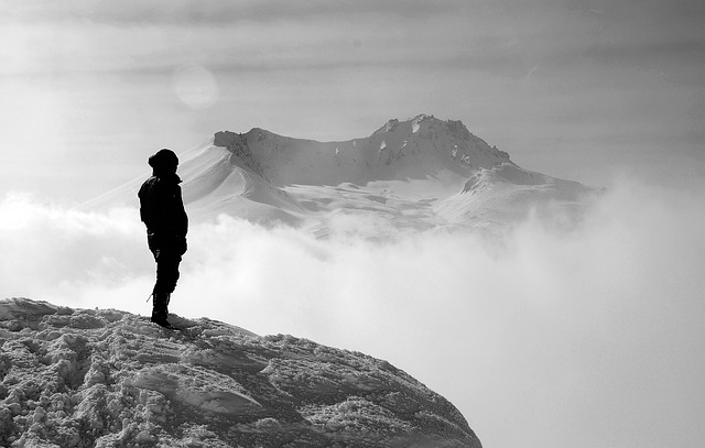 woman hiking backcountry mountain
